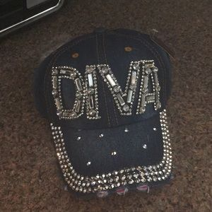 Blinged out DIVA baseball cap